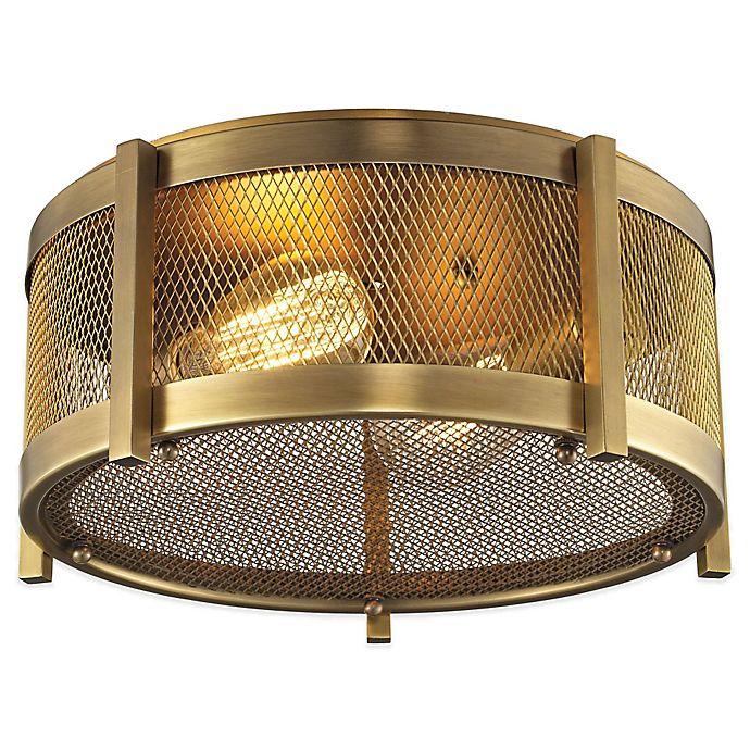 Alternate image 1 for Elk Lighting Rialto 2-Light Flush-Mount Ceiling Light in Brass with Metal Mesh Shade