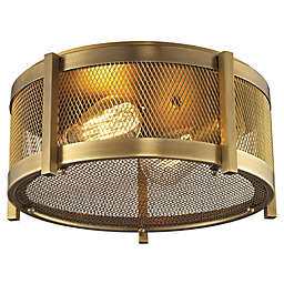 Elk Lighting Rialto 2-Light Flush-Mount Ceiling Light in Brass with Metal Mesh Shade