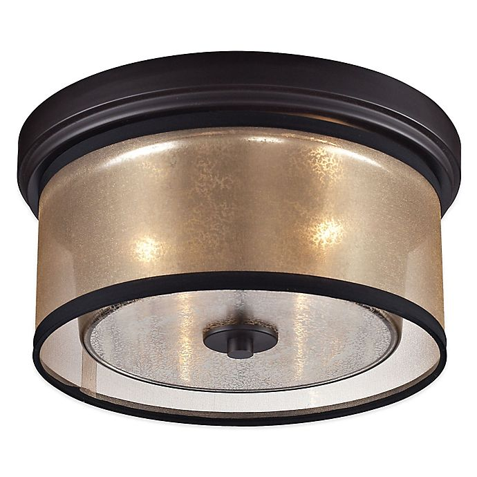 Alternate image 1 for ELK Lighting Diffusion 2-Light Flush-Mount Ceiling Light in Oil Rubbed Bronze with Organza Shade