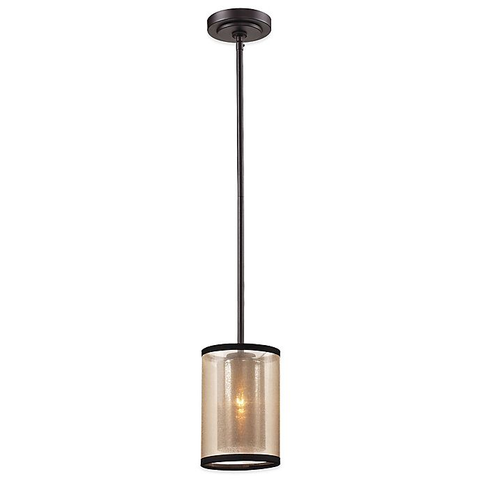 Alternate image 1 for Elk Lighting Diffusion 1-Light Pendant Light in Oil Rubbed Bronze with Organza Shade