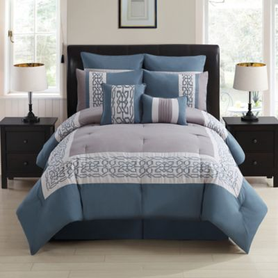 Dorsey 8 Piece Comforter Set In Grey Blue Bed Bath And