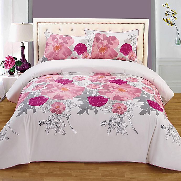Alternate image 1 for Rose Organic Cotton Reversible Full/Queen Duvet Cover Set