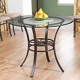 Southern Enterprises Paisley Dining Table with Round Glass Top in Dark Brown