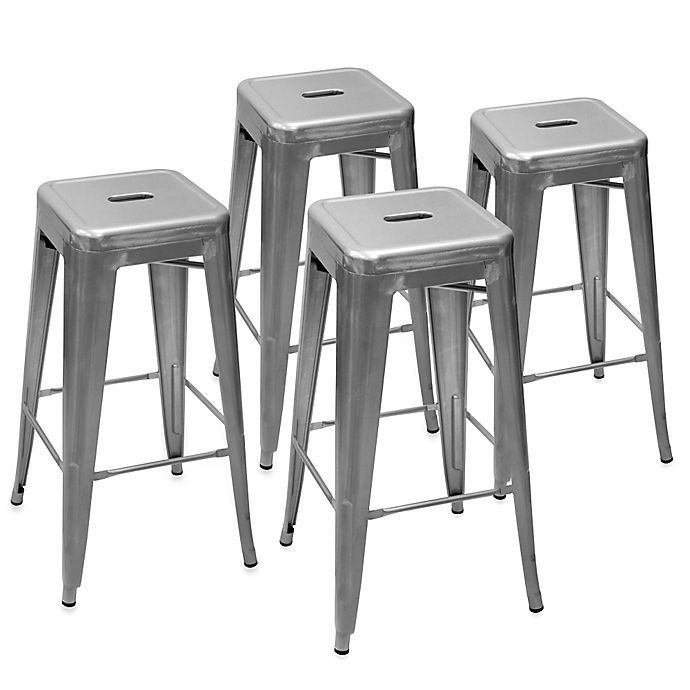 Peachy Ampersand Galvanized Cafe Stools Set Of 4 Forskolin Free Trial Chair Design Images Forskolin Free Trialorg