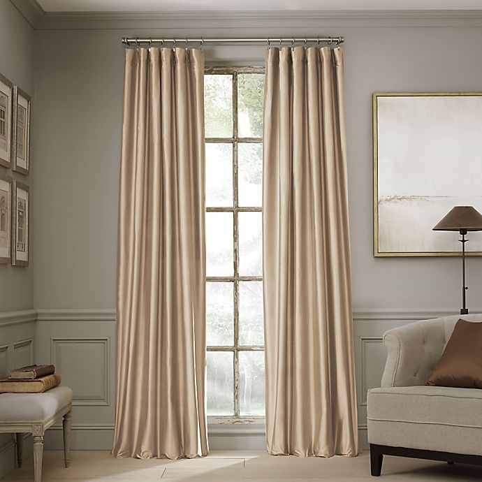 Alternate image 1 for Valeron Estate 84-Inch Silk Window Curtain Panel in Taupe