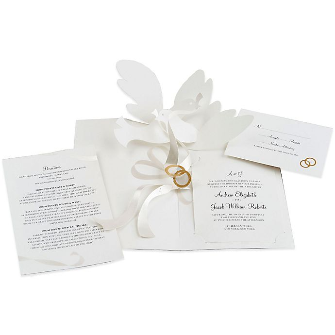 24 Count Dove Pop Up Wedding Invitations Bed Bath Beyond