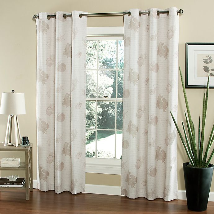 M.style Seaside Script 84-Inch Window Curtain Panel Pair