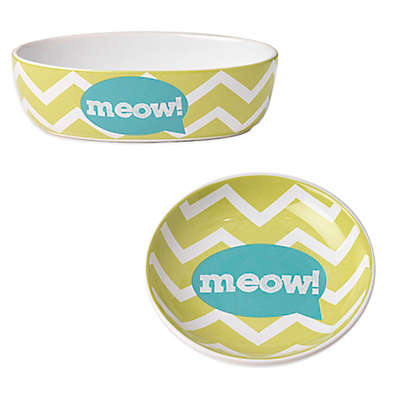 "Petrageous® Zigazaga ""Meow"" Pet Bowl in Lime Green"