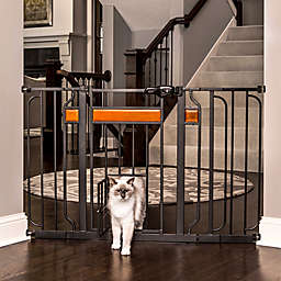 Carlson Design Paw Extra-Wide Pet-Door Pressure Mount Pet Gate in Black with Wood Trim