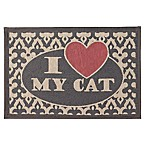 Petrageous® Polycotton  I Love My Cat  Tapestry Placemat in Grey/Red