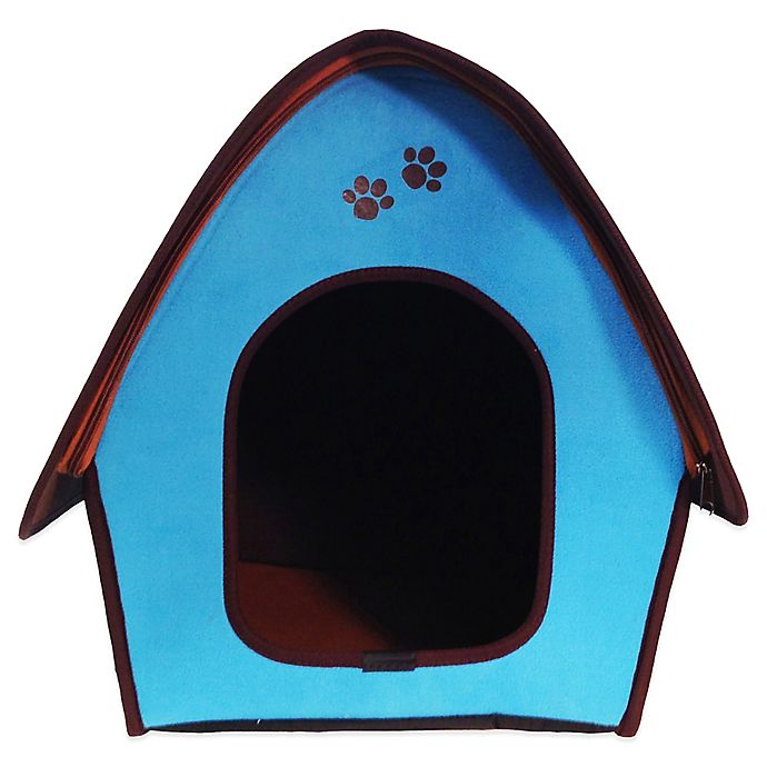 Alternate image 1 for Penn-Plax® Dog's Life™ Home and Travel Pet House with Curved Roof in Blue