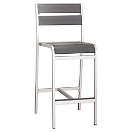 Zuo® Megapolis Bar Armless Chair in Brushed Aluminum (Set of 2)