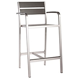 Zuo® Megapolis Bar Arm Chair in Brushed Aluminum (Set of 2)