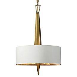 Uttermost Obeliska 3-Light Chandelier in Gold with Beige Linen Shade