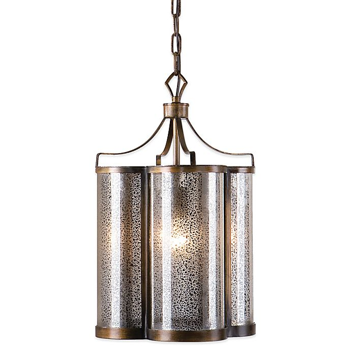 Alternate image 1 for Uttermost Croydon Pendant Lamp in Golden Oil Rubbed Bronze with Antiqued Mercury Glass Shade