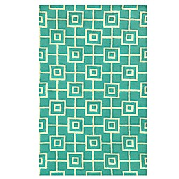 Rizzy Home Eden Harbor Square Link Area Rug in Blue