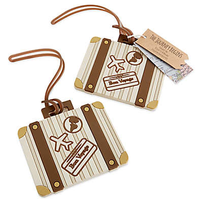 Kate Aspen® Let the Journey Begin Vintage Suitcase Luggage Tag in White