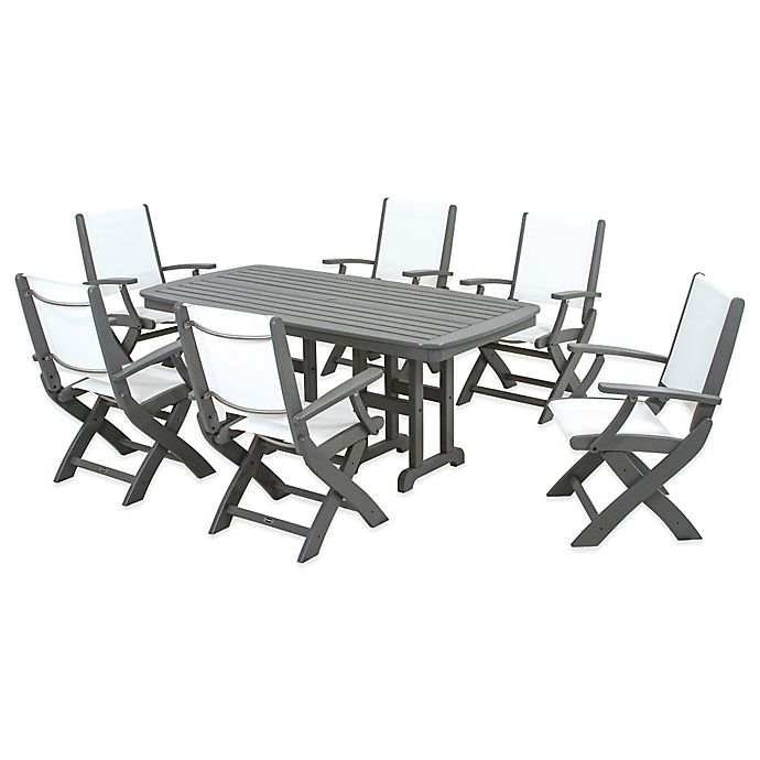 Alternate image 1 for POLYWOOD® Coastal 7-Piece Outdoor Dining Set in Grey/White