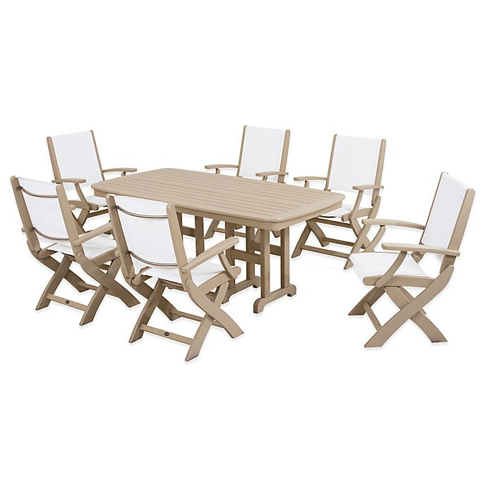 Alternate image 1 for POLYWOOD® Coastal 7-Piece Outdoor Dining Set in Sand/White