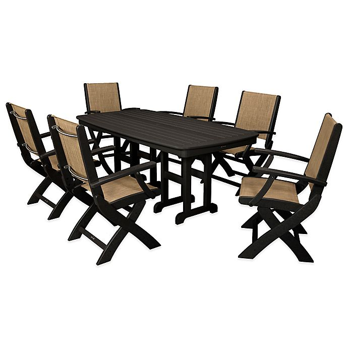 Alternate image 1 for POLYWOOD® Coastal 7-Piece Outdoor Dining Set in Black/Natural