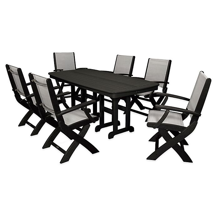 Alternate image 1 for POLYWOOD® Coastal 7-Piece Outdoor Dining Set in Black/Silver