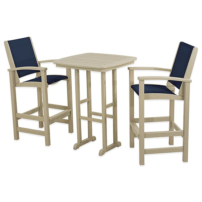 Alternate image 1 for POLYWOOD® Coastal 3-Piece Outdoor Bar Set in Sand/Blue