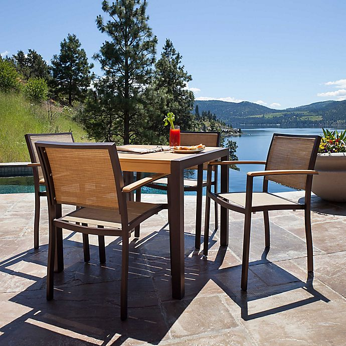 Alternate image 1 for POLYWOOD® Bayline™ 5-Piece Outdoor Dining Set in Bronze/Natural