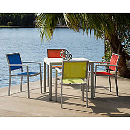 POLYWOOD®  Bayline™ 5-Piece Outdoor Dining Set in White/Multicolor