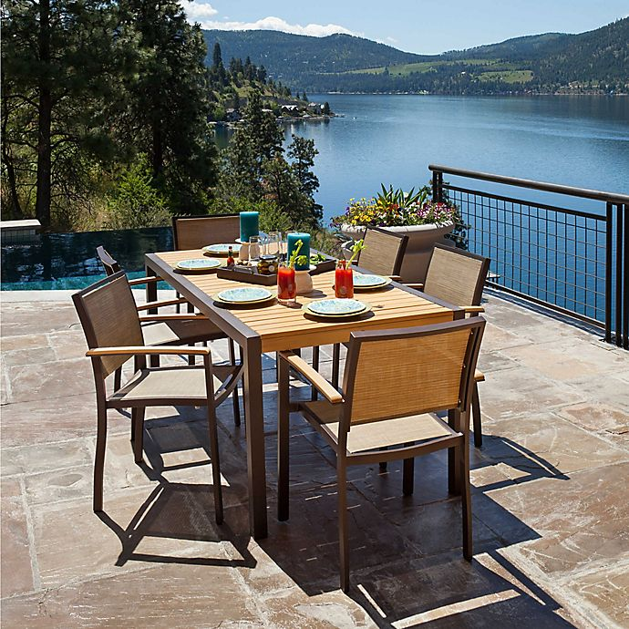 Alternate image 1 for POLYWOOD® Bayline™ 7-Piece Outdoor Dining Set in Bronze/Natural