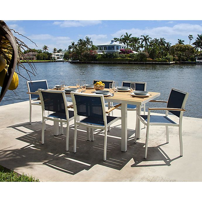 Alternate image 1 for POLYWOOD® Bayline™ 7-Piece Outdoor Dining Set in White/Navy