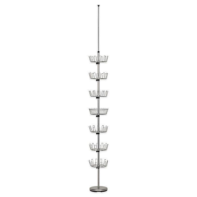 Alternate image 1 for Household Essentials® 6-Tier Floor-to-Ceiling Revolving Shoe Tree in Silver