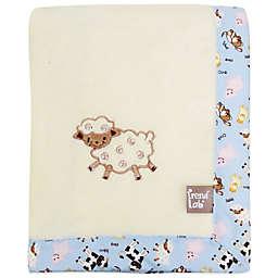 Trend Lab® Baby Barnyard Coral Fleece Receiving Blanket in Cream/Blue