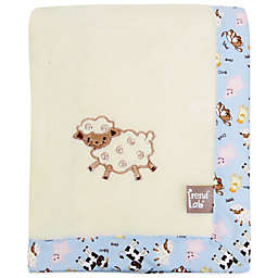Trend Lab® Baby Barnyard Coral Fleece Receiving Blanket in Cream/Blue