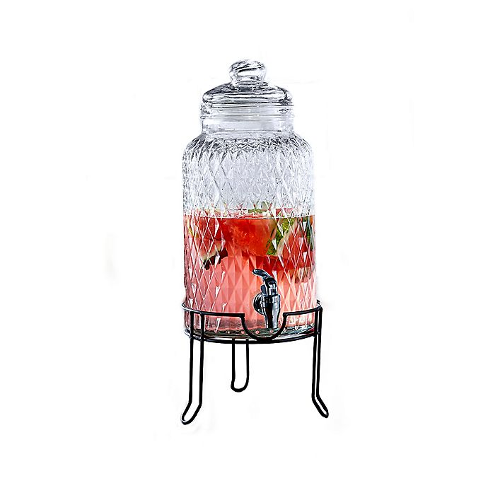Alternate image 1 for Quilted Glass Beverage Dispenser in Clear