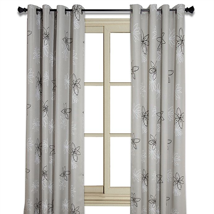 Alternate image 1 for Crawford 84-Inch Floral Print Room-Darkening Window Curtain Panel in Natural