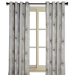 Crawford 84-Inch Floral Print Room-Darkening Window Curtain Panel in Natural