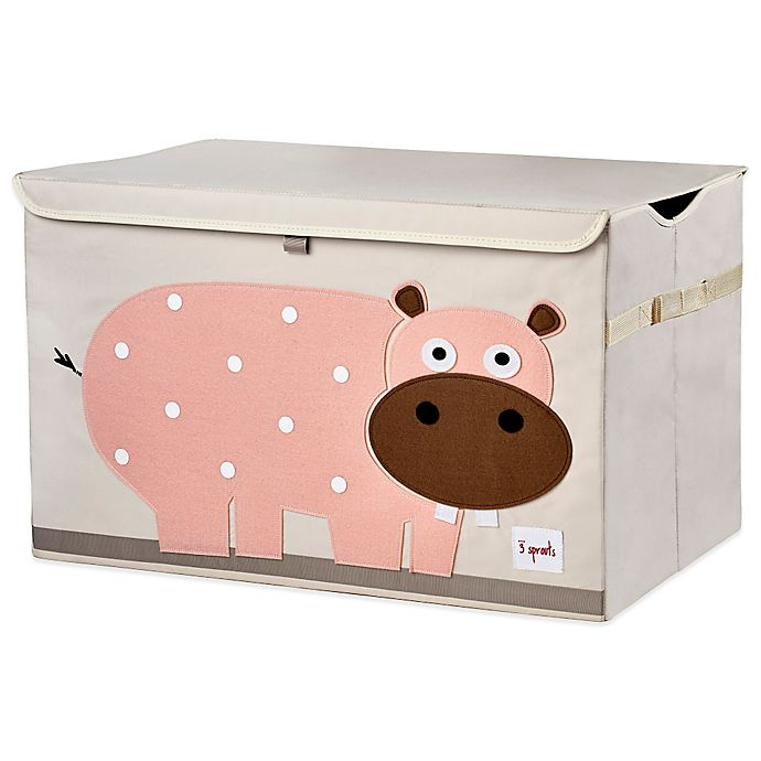Alternate image 1 for 3 Sprouts Hippo Toy Chest in Pink