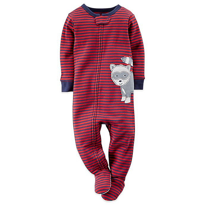 a00bf29915d1 Carter s® Stripe and Raccoon Footed Pajama in Red