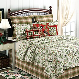 Chickadee and Holly Pines Holiday Reversible Quilt