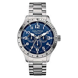 Nautica® Men's 44mm Navy Dial Chronograph Watch in Stainless Steel