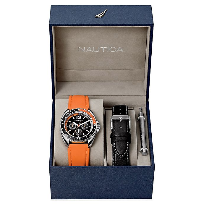 Alternate image 1 for Nautica® Men's 39mm Sport Ring Watch Boxed Set with Orange Silicone and Black Leather Straps