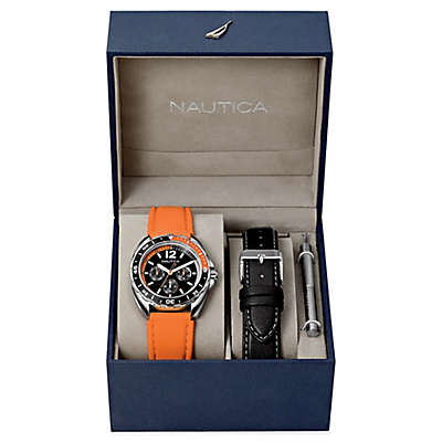 Nautica® Men's 39mm Sport Ring Watch Boxed Set with Orange Silicone and Black Leather Straps
