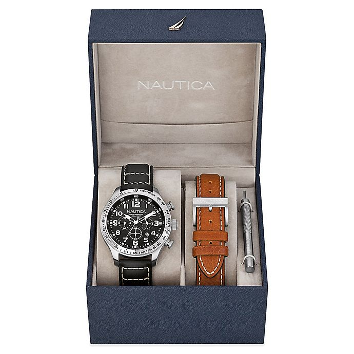 Alternate image 1 for Nautica® Men's 44mm Black Dial Chronograph Watch in Stainless Steel with Leather Strap Boxed Set
