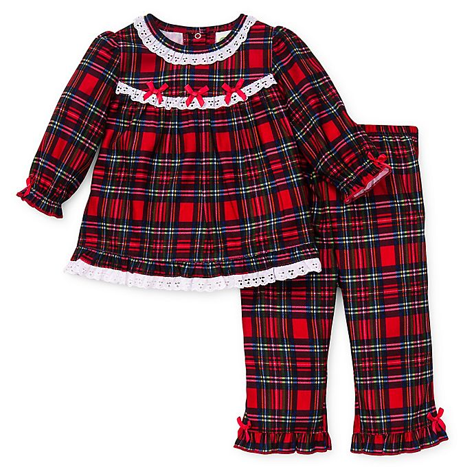 Alternate image 1 for Little Me® 2-Piece Christmas Plaid Ruffle Pajama Set in Red