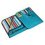 Picnic Time® Vista Outdoor Picnic Blanket  in Aqua Blue with Fun Stripes