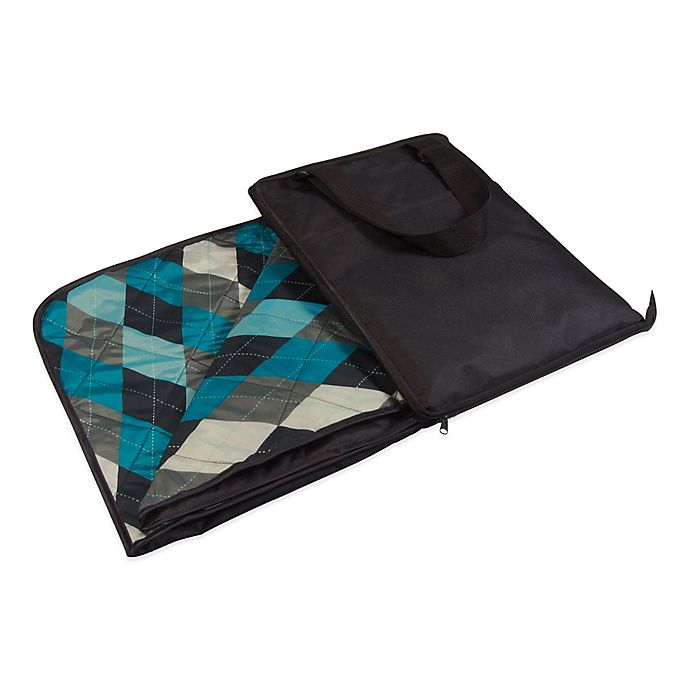 Alternate image 1 for Picnic Time® Vista Outdoor Picnic Blanket in Black with Argyle Print
