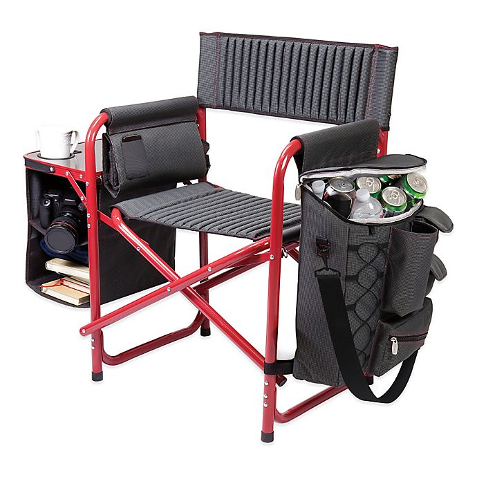 Alternate image 1 for Picnic Time® Fusion Backpack Chair with Cooler in Dark Grey/Red