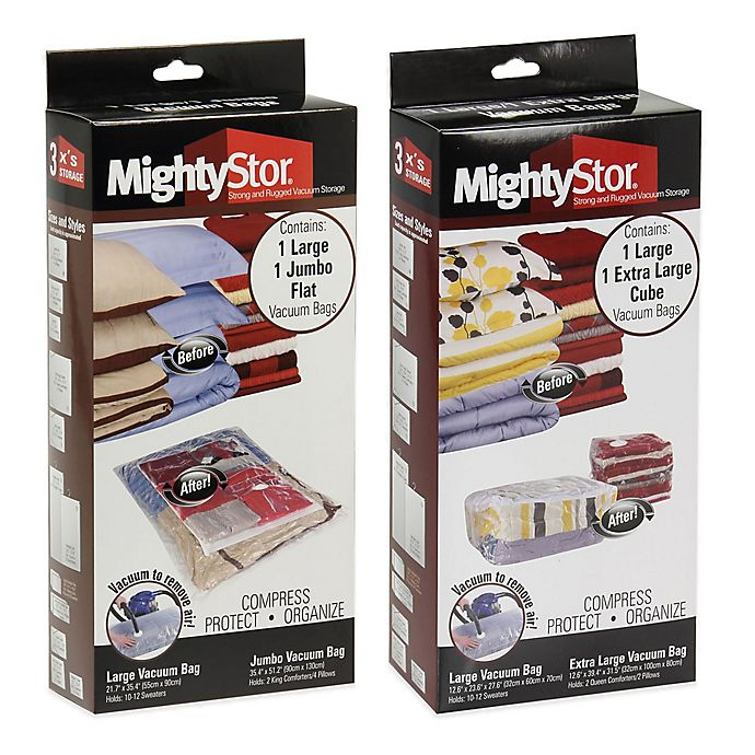 Alternate image 1 for Household Essentials® MightyStor Vacuum Storage Bag/Cube Combo Set