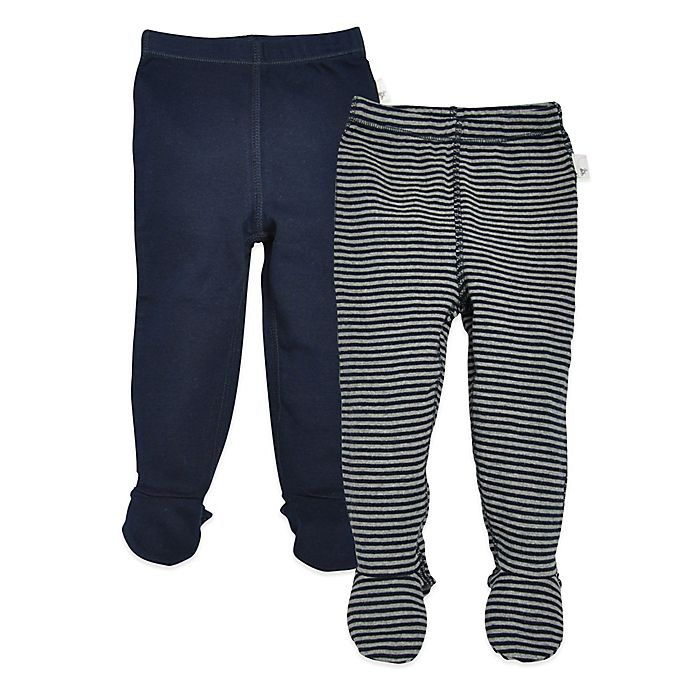 bdea16839 Burt's Bees Baby® 2-Pack Stripe and Solid Organic Cotton Footed Pant in  Navy/Grey