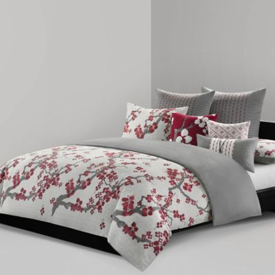 N Natori 174 Cherry Blossom Reversible Comforter Set Bed